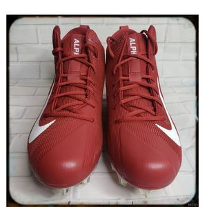 NWOT Mens Nike Red an White Alpha Cleats S…